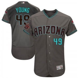 Youth Majestic Arizona Diamondbacks Alex Young Gray Flex Base /Teal 20th Anniversary On-Field Patch Collection Jersey - Authenti